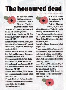 Remebering the Fallen December 1914 (Rugby Players)