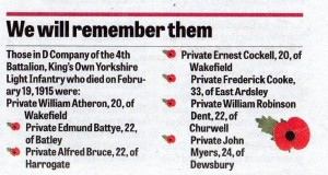 Remembering the Fallen February 1914