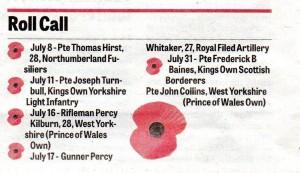 Remembering the Fallen July 1915